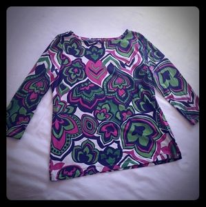 Talbots Petite Large Pink & Green Soft Stretch Top